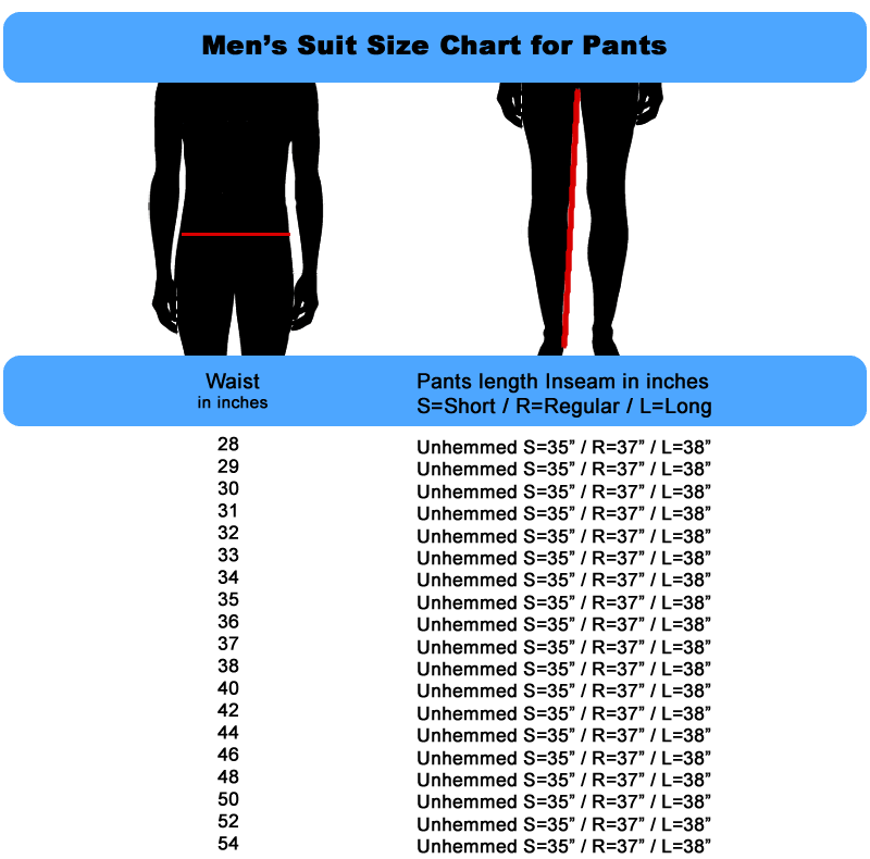 Mens Size Chart for Suit Pants
