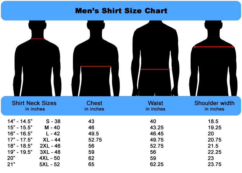 Mens Size Chart for Shirts