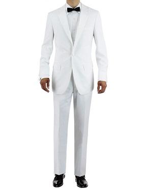 Mens One Button Peak Lapel Adjustable Pants Tuxedo Suit White by Giorgio Napoli