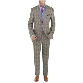 Mens Linen Suit Modern Fit Two-Button Jacket - Image1
