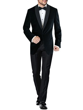 Mens BB Signature One Button Shawl Lapel Velvet Tuxedo Suit Black by DTI DARYA TRADING