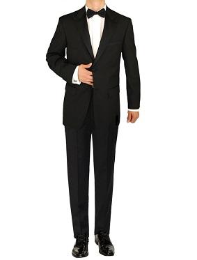 Mens Tuxedo Suit 2 Button Peak Lapel Jacket Adjustable Pant Black by Giorgio Napoli