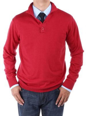 Mens Mock Neck Elbow Patch 14 Button Sweater Relaxed Fit Dark Red by Luciano Natazzi
