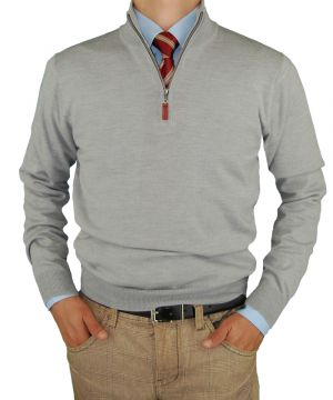 Mens Merino Wool Quarter Zip Mock Neck Sweater Trim Fit Light Gray by Luciano Natazzi