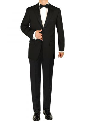Mens Tuxedo Suit 2 Button Peak Lapel Jacket Adjustable Pant Black by Giorgio Napoli