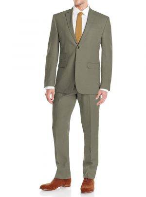 GV Executive Men's Linen Modern Fit 2 Button Summer Suit Olive by DTI