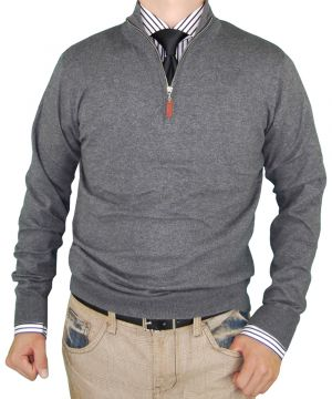 Mens Classic Fit Quarter Zip Mock Neck Sweater Cotton Cashmere Touch Charcoal by Luciano Natazzi