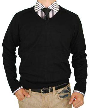 Mens Classic Fit V-neck Premium Cotton Sweater With A Cashmere Touch Black by Luciano Natazzi