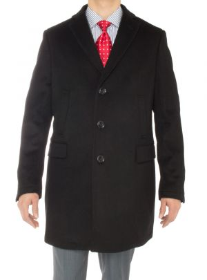 Mens Cashmere Trench Coat Classic Modern Topcoat Overcoat Black by Luciano Natazzi