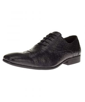Mens DTI Leather Shoes Oxford Dress Lace-Up Z622-30 Crocodile Print Black by Darya Trading
