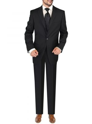 Three Button Jacket Side Vents Pleated Pants Black by Giorgio Napoli