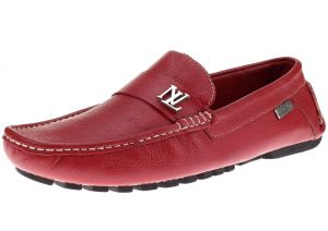 Mens Air Grant Canoe Leather Shoes Original Slip-on Driving Loafer Red by Luciano Natazzi