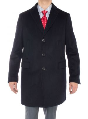 Mens Cashmere Trench Coat Classic Modern Topcoat Overcoat Navy Blue by Luciano Natazzi