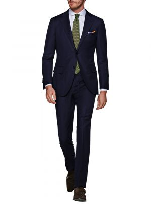 Two Button 160s Canali Cashmere Wool Navy by Luciano Natazzi