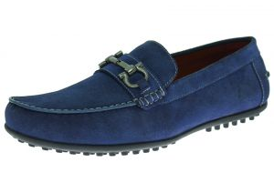 Mens Suede Leather Shoe Kimo Slip-On Driving Moccasin Blue by Luciano Natazzi