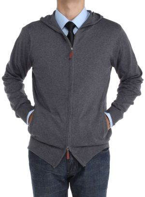 Mens Front Zip Hoodie Sweater Relaxed Fit Charcoal by Luciano Natazzi