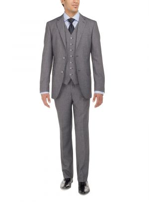 Two Button Tweed 3 Piece Modern Fit Vested Gray by Luciano Natazzi