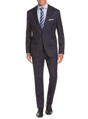 Two Button Side Vent Jacket Flat Front Pants Navy by Salvatore Exte