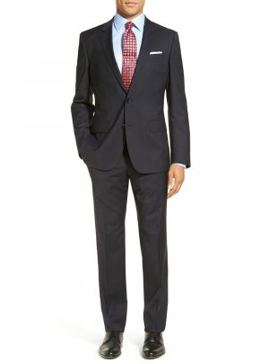 Modern Fit 2 Piece Two Button Narrow Charcoal Stripe by Luciano Natazzi