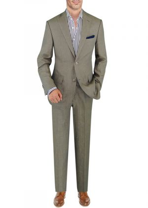 BB Signature Men's Modern Fit Italian Linen 2 Button Suit Light Olive by DTI