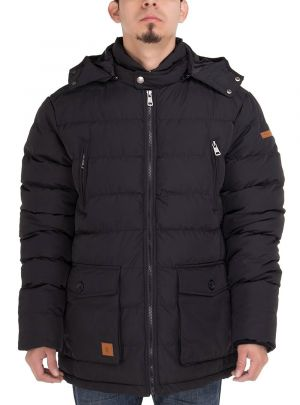 Mens Thermal Padded Down Jacket Removable Hood Puffer Parka Coat Black by Luciano Natazzi