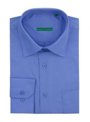 Mens BB Signature Modern Classic Fit 2 Ply Pure Cotton Solid Dress Shirt Medium Blue by DTI DARYA TRADING