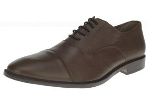 Dark Brown Lace-up Cap-toe Oxford Full Grain Leather Dress Shoes SL303