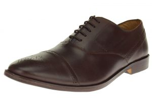 Dark Brown Lace-up Cap-toe Oxford Full Grain Leather Dress Shoes SL302
