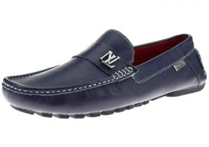 Mens Air Grant Canoe Leather Shoes Original Slip-on Driving Loafer Navy by Luciano Natazzi