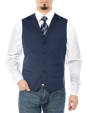 Mens Notch Lapel Casual Vest Modern Fit Dress Suit Waistcoat Navy Blue by Salvatore Exte
