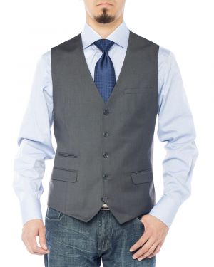 Mens Modern Fit Vest Dress Suits Waistcoat For Suit Tuxedo Charcoal by Giorgio Napoli