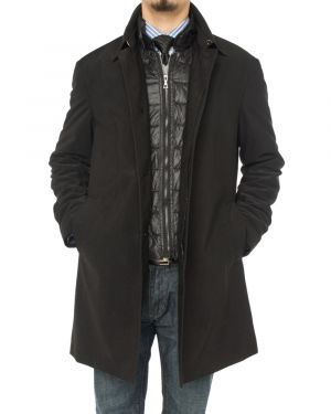 Mens Modern Fit Insulated Lining Walker Coat Black by Luciano Natazzi