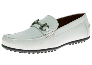 White Slip-on Comfort Leather Driving Shoe