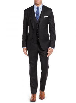 3-piece Vested Set 2 Button Blazer Pants Plus Tux Vest Black by Salvatore Exte