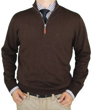 Mens Classic Fit Quarter Zip Mock Neck Sweater Cotton Cashmere Touch Chocolate by Luciano Natazzi