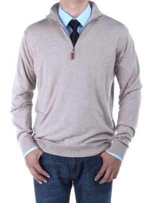 Mens Mock Neck Zipped Sweater Relaxed Fit Taupe by Luciano Natazzi