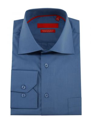Mens GV Executive Modern Spread Collar Barrel Cuff Cotton Dress Shirt Blue by DTI DARYA TRADING