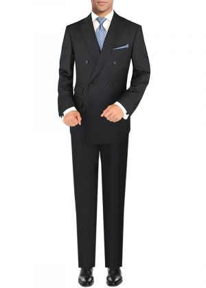 Mens Double Breasted Suit GV Executive Italian 2 Piece Set Jacket Black Stripe by DTI DARYA TRADING
