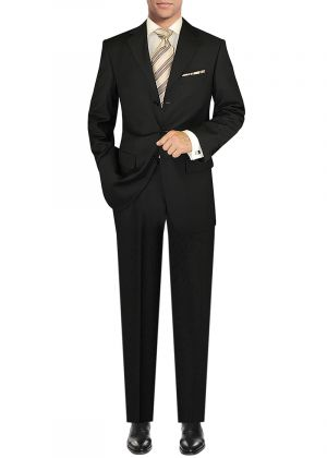 Modern Fit GV Executive Italian Three Button Wool Jacket Trousers Black Stripe by DTI DARYA TRADING