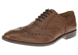 Tan Burnish Lace-up Wingtip Oxford Full Grain Leather Dress Shoes SL304