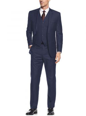 Vested Three Piece Blazer Jacket Dress Vest Plus Pant French Blue by Salvatore Exte