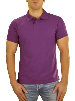 Mens T Jeans Modern Fit Button Down Pique Polo Sport Shirt Purple by Darya Trading