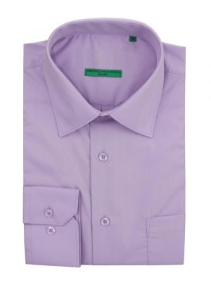 Mens BB Signature Modern Classic Fit 2 Ply Pure Cotton Solid Dress Shirt Purple by DTI DARYA TRADING