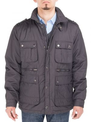 Mens Slim Fit Utilitarian Padded Coat Six-Pocket Jacket Charcoal Gray by Luciano Natazzi