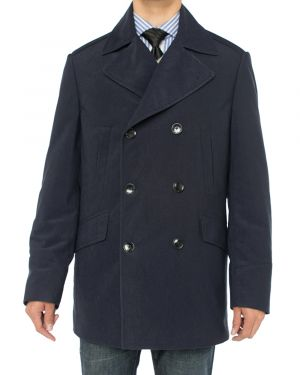 Mens Double Breasted Top Coat Modern Fit Pea Navy Blue by Luciano Natazzi