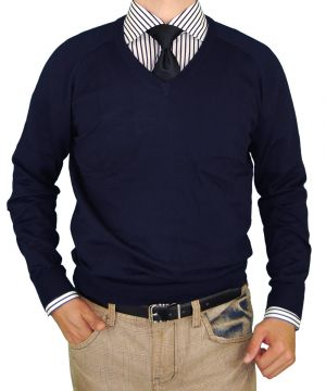 Mens V-neck Cotton Sweater Cashmere Touch Slim Fit Navy by Luciano Natazzi