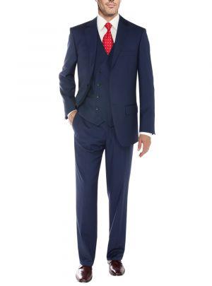 Vested Three Piece Blazer Jacket Dress Vest Plus Pant Db French Blue by Salvatore Exte