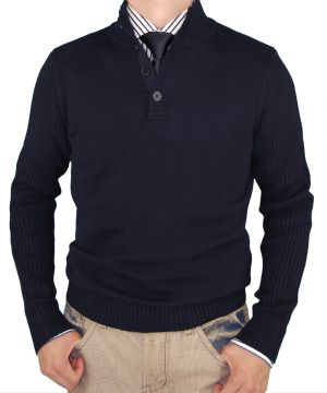 Mens Classic Fit Mock Neck Ribbed Fitted Sweater Premium Cotton Navy by Luciano Natazzi