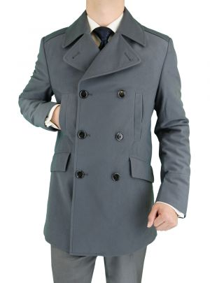 Mens Stretch Wool Blend Trim Fit Pea Coat Gray by Luciano Natazzi