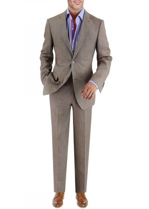 BB Signature Men's Modern Fit 2 Button Italian Linen Suit Plaza Taupe by DTI